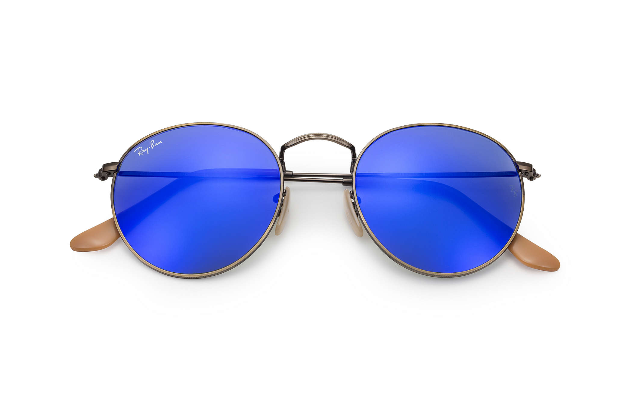 ad3a9f95234 Ray-Ban Round Flash Lenses RB3447 Bronze-Copper - Metal - Blue ...