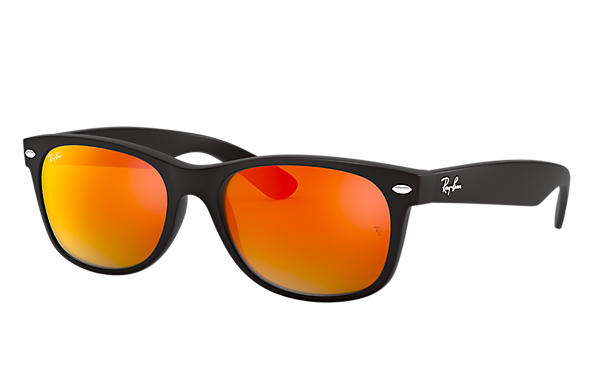 28bc08df39 Ray-Ban New Wayfarer Flash RB2132 Black - Nylon - Orange Lenses ...