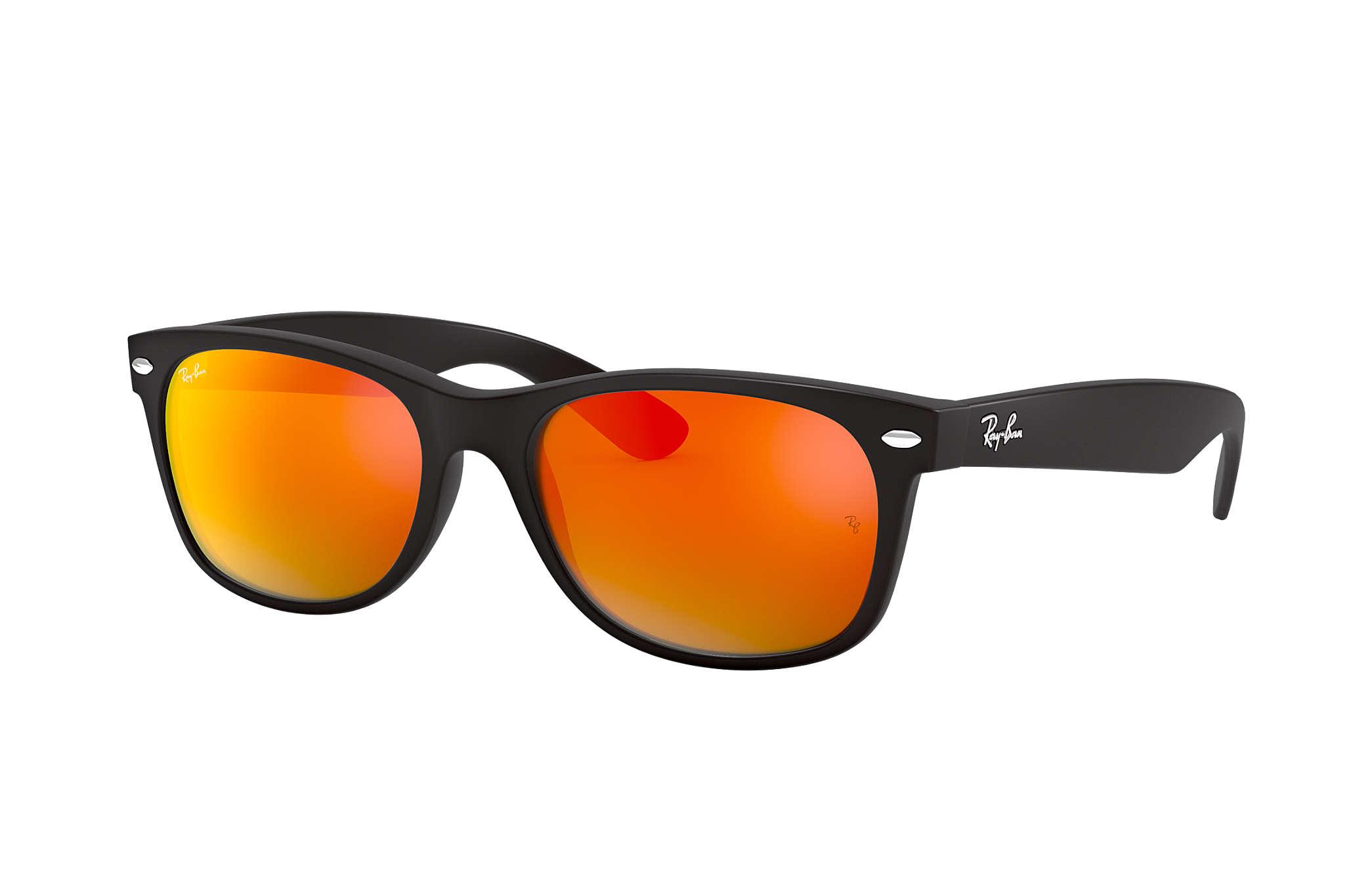 f9617c92174 Ray-Ban New Wayfarer Flash RB2132 Black - Nylon - Orange Lenses ...