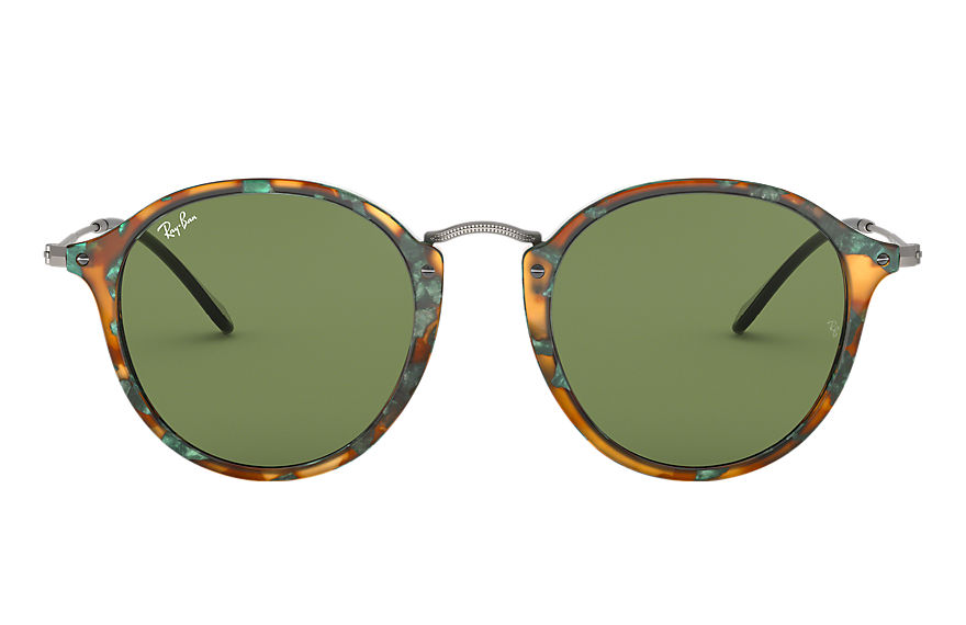 Ray-Ban Sunglasses ROUND FLECK Tortoise with Green Classic lens