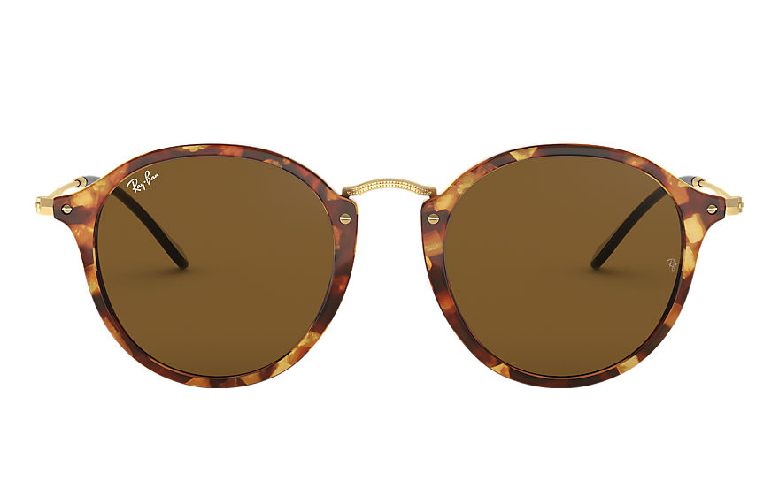 Ray-Ban Sunglasses ROUND FLECK Polished Tortoise with Brown Classic B-15 lens