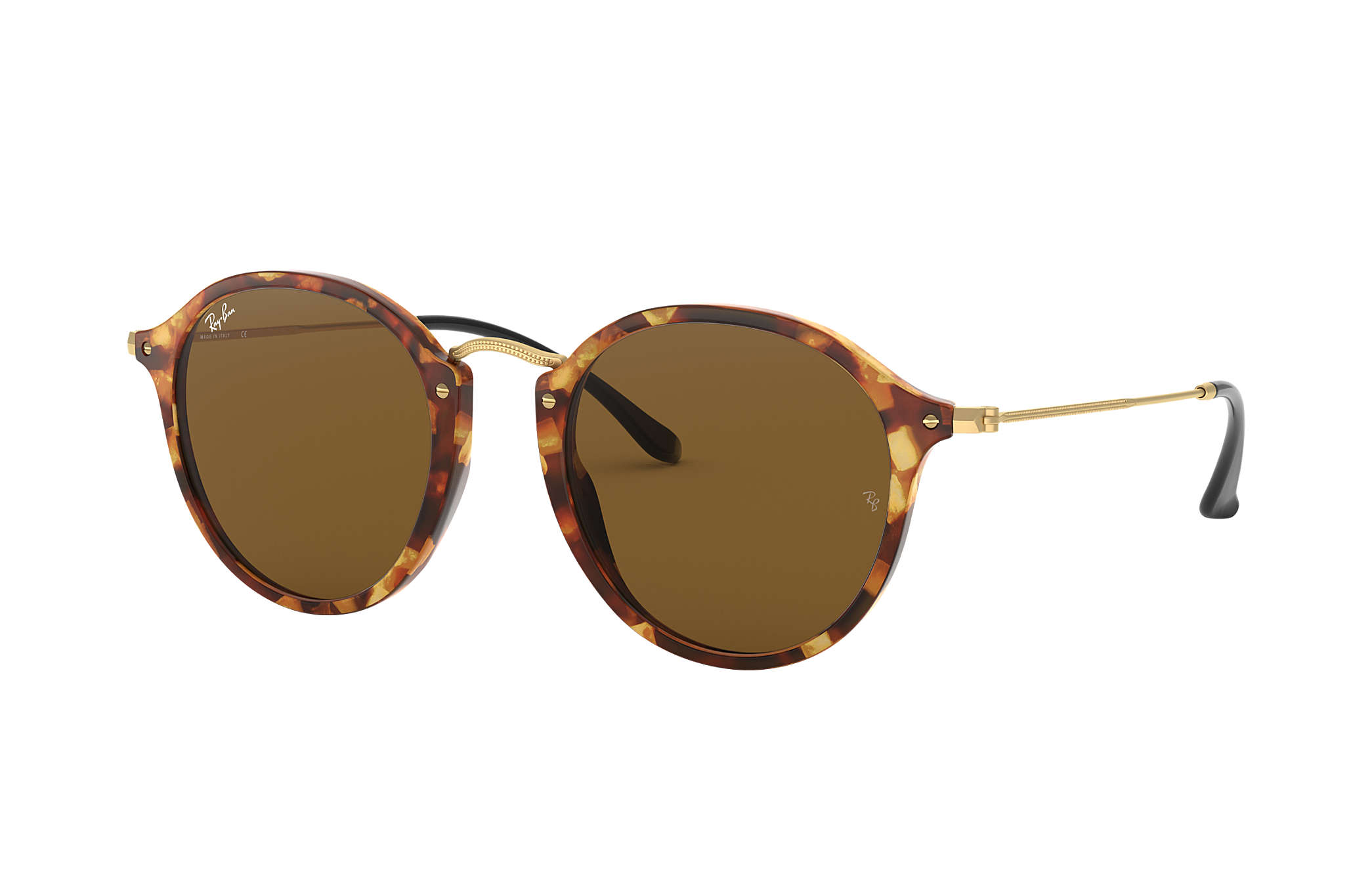 d0a636f7637 Ray-Ban Round Fleck RB2447 Tortoise - Acetate - Brown Lenses ...