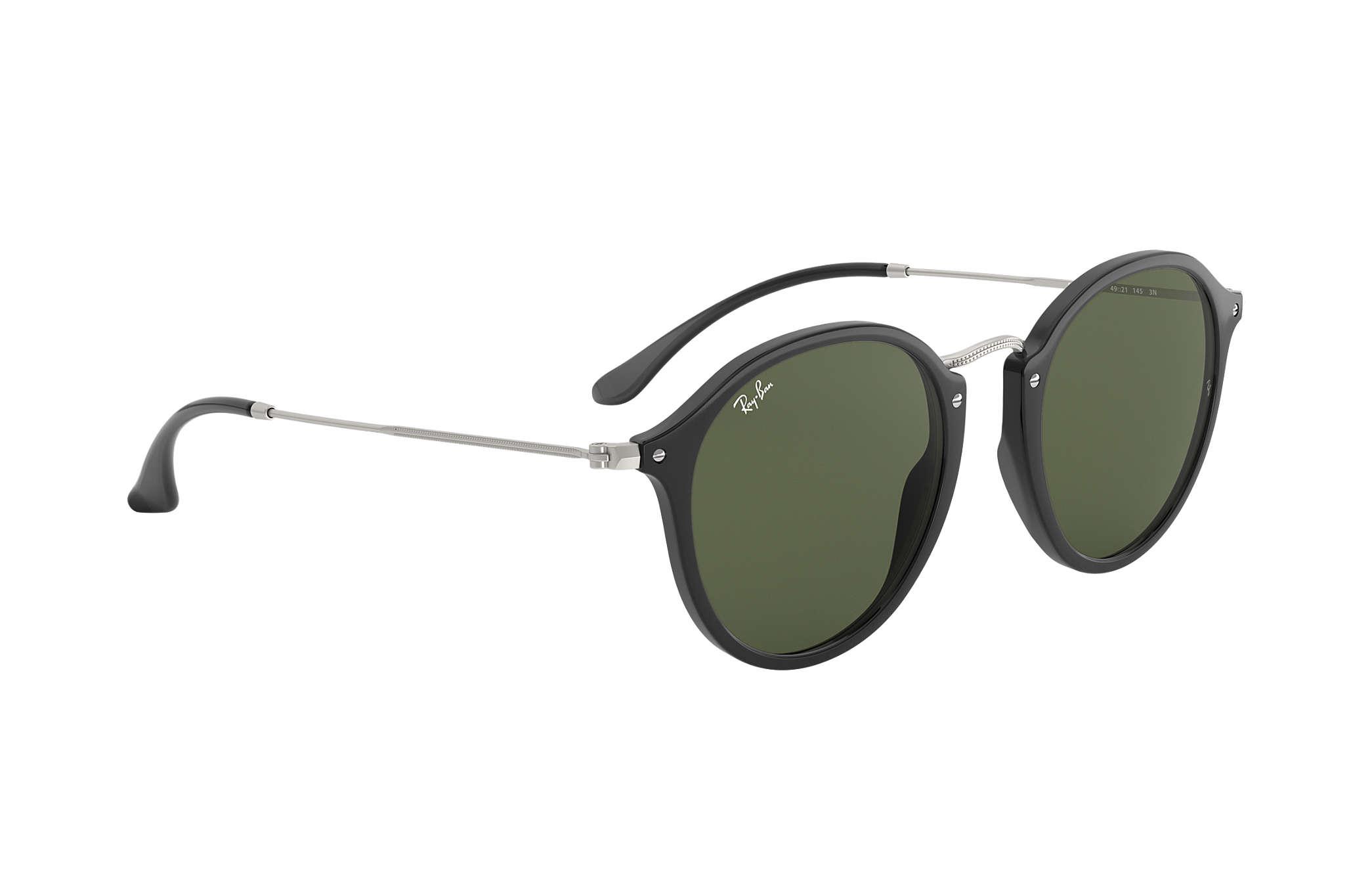 4996345d4f5e Ray-Ban Round Fleck RB2447 Black - Acetate - Green Lenses ...