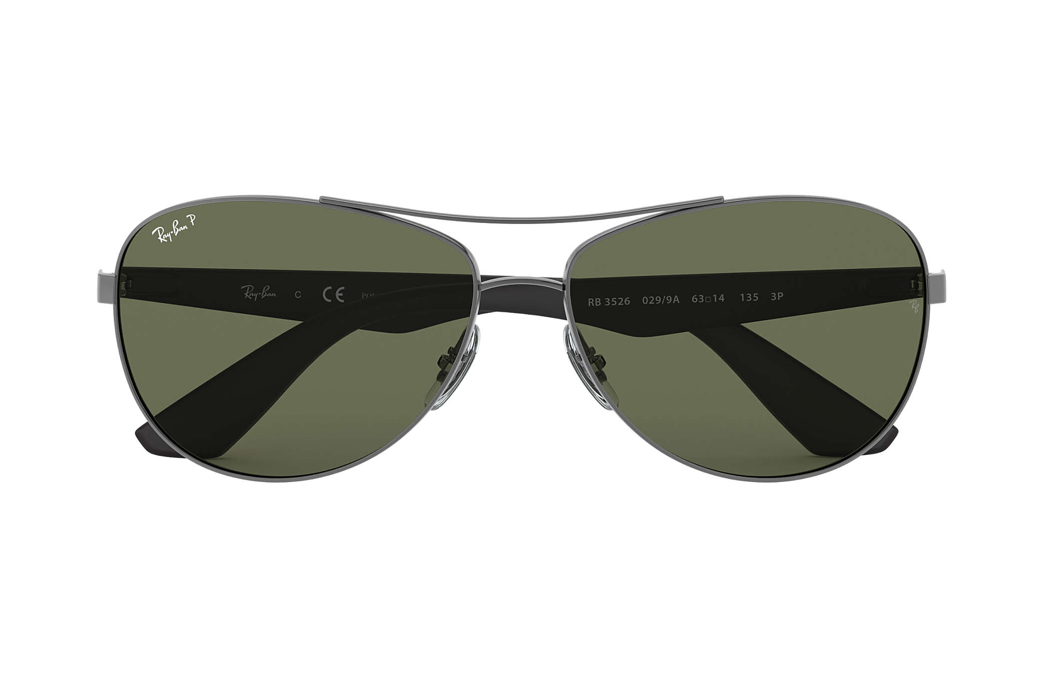 b7349c99ae0ba Ray-Ban RB3526 Gunmetal - Metal - Green Polarized Lenses ...
