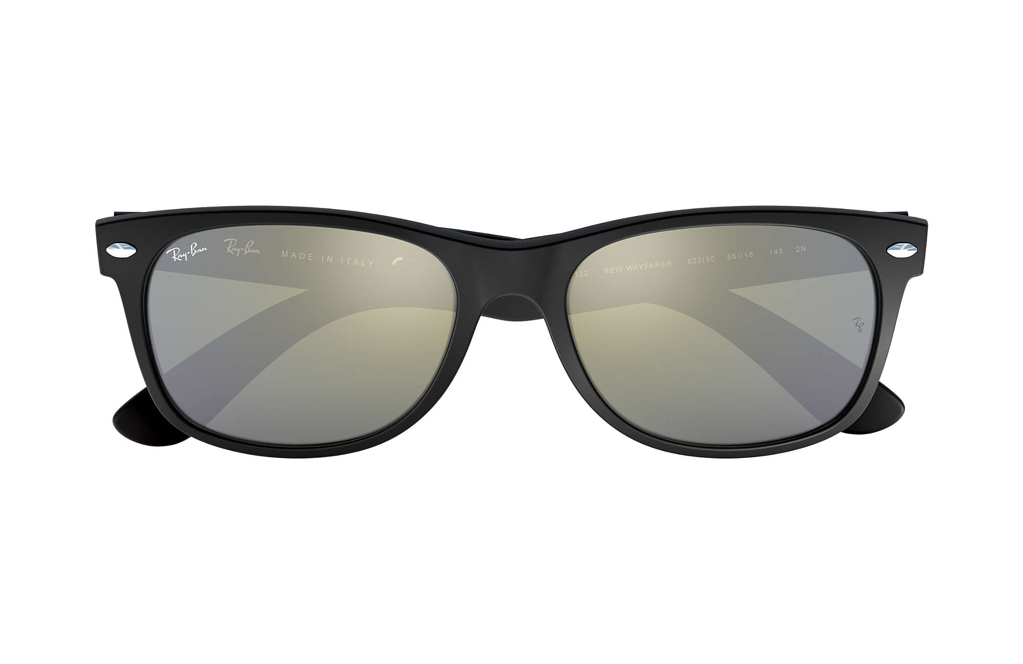 Ray-Ban New Wayfarer Flash RB2132 Preto - Nylon - Lentes Prata ... e21980dd7d