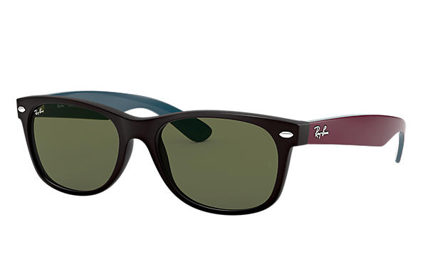 Ray-Ban Sunglasses NEW WAYFARER BICOLOR Black with Green Classic G-15 lens