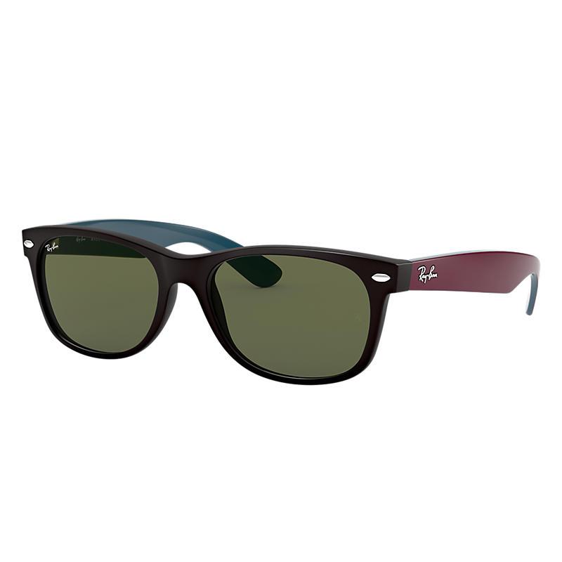Ray-Ban New Wayfarer Bicolor Red Sunglasses, Green