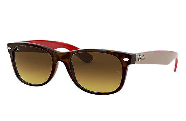 Ray-Ban 0RB2132-NEW WAYFARER BICOLOR Tortoise; Grey,Red SUN