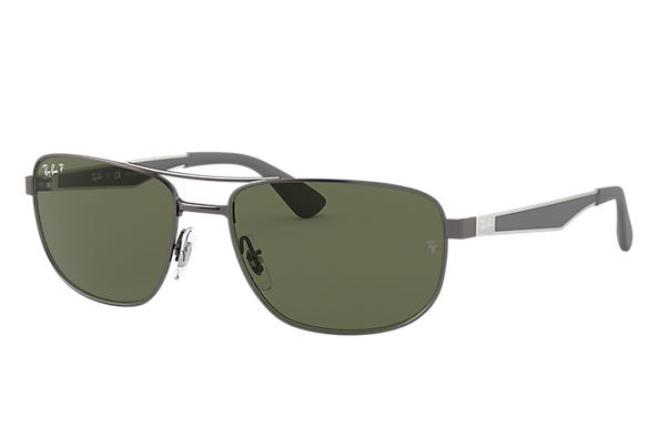 41be4d254df Ray-Ban RB3528 Gunmetal - Metal - Green Polarized Lenses ...