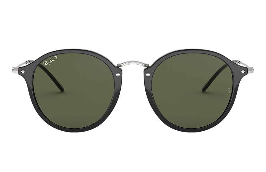Ray-Ban Sunglasses ROUND FLECK Black with Green Classic G-15 lens