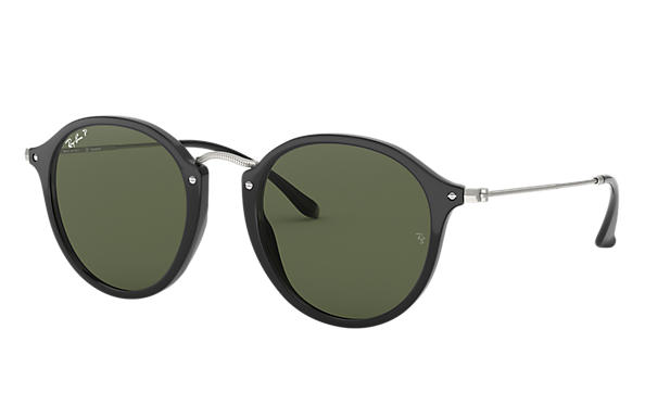 9b8e3cb853 Ray-Ban Round Fleck RB2447 Black - Acetate - Green Polarized Lenses ...