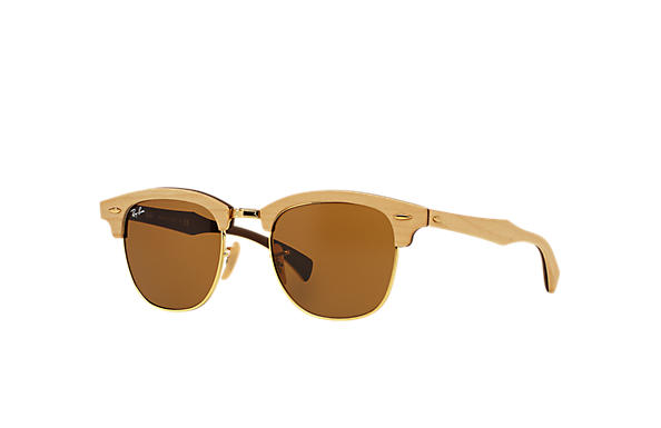 Ray-Ban 0RB3016M-CLUBMASTER WOOD Light Brown SUN
