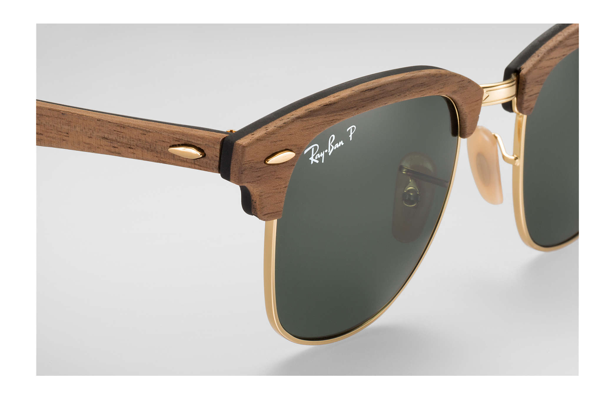 4182b531f8 Ray-Ban Clubmaster Wood RB3016M Brown - Wood - Green Polarized ...
