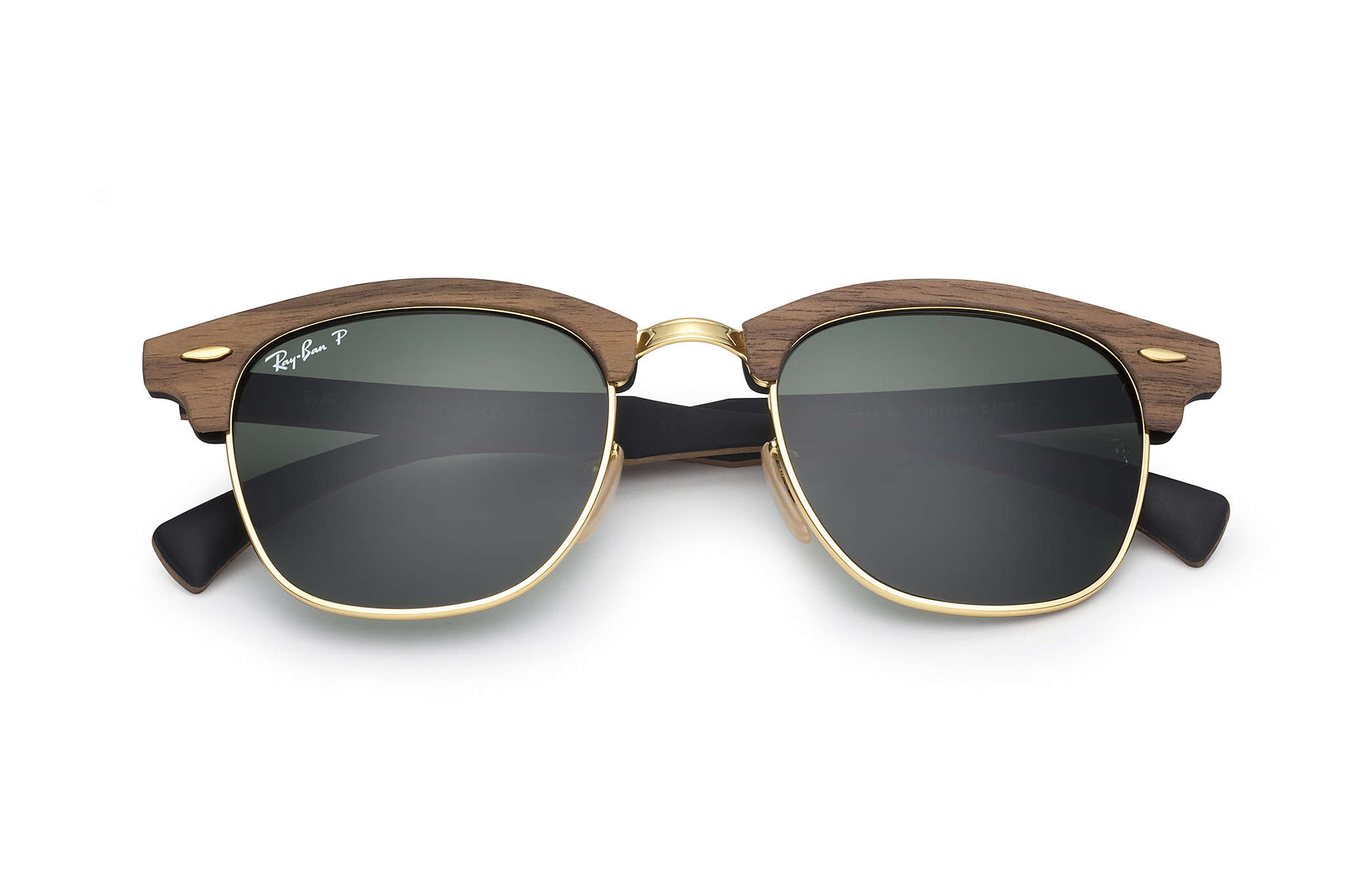 1b57b1f4eb9c Ray-Ban Clubmaster Wood RB3016M Brown - Wood - Green Polarized ...
