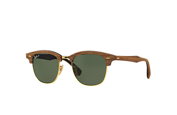 Ray-Ban Sunglasses CLUBMASTER WOOD Brown with Green Classic G-15 lens