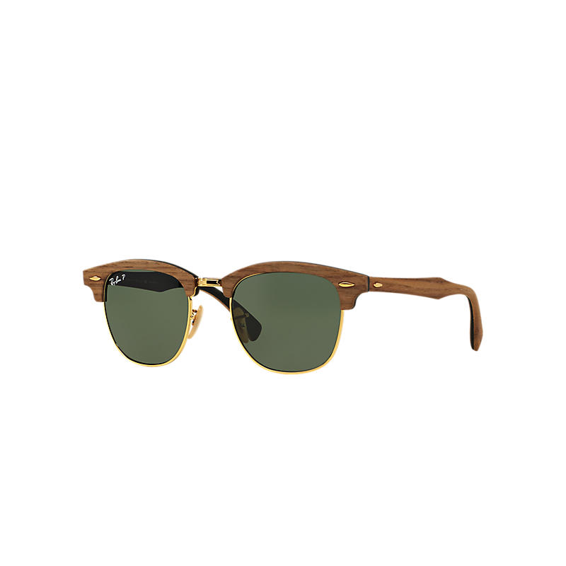 Ray-Ban Clubmaster Wood Brown Sunglasses, Polarized Green