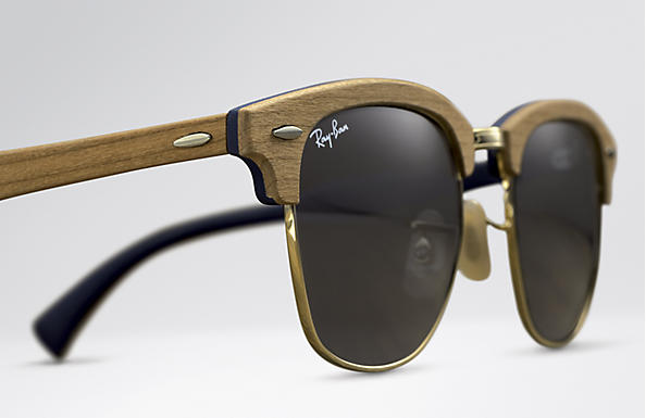 Ray-Ban Clubmaster Wood RB3016M Brown - Wood - Blue Gray Lenses ... 04108b2cd6