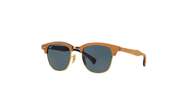 cd644261e8800 Ray-Ban Clubmaster Wood RB3016M Marrom - Madeira - Lentes Azul Cinzento -  0RB3016M1180R551   Ray-Ban® Brasil