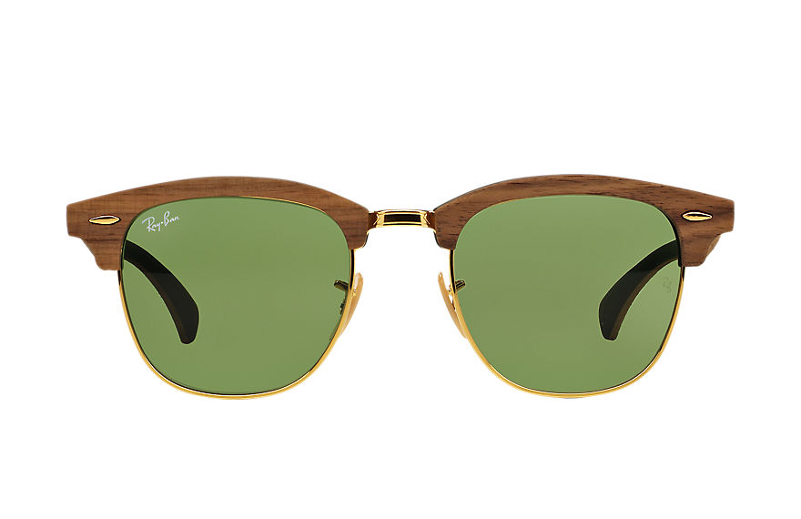 Ray-Ban CLUBMASTER WOOD Brown with Green Classic lens