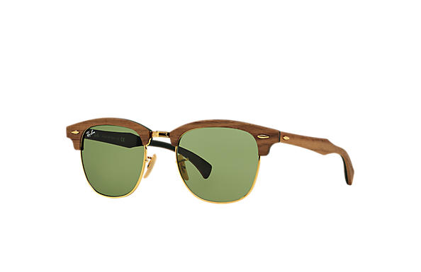 d432a48e78 Ray-Ban Clubmaster Wood RB3016M Brown - Wood - Green Lenses ...
