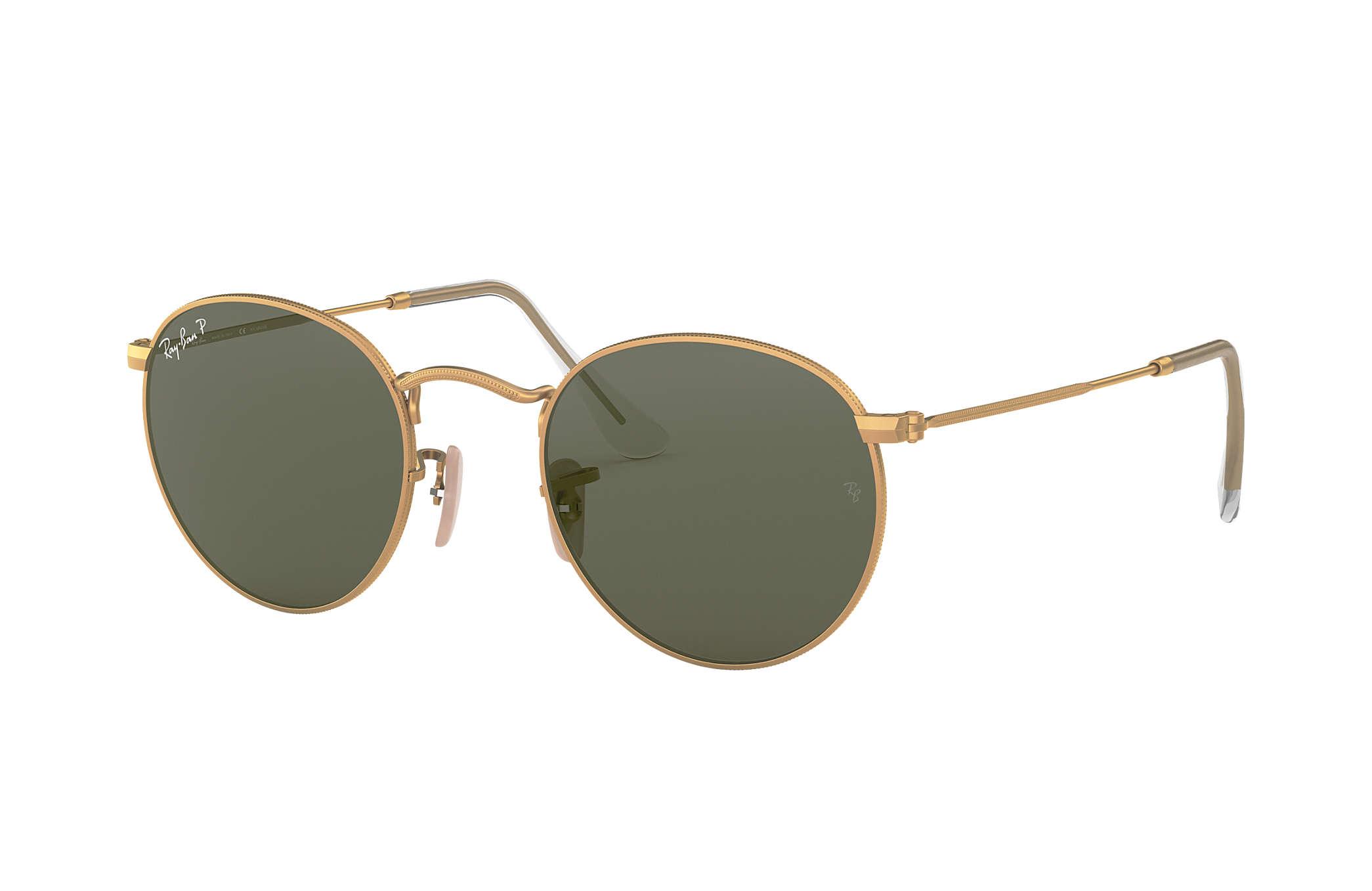Ray-Ban Round Metal RB3447 Gold - Metal - Green Polarized Lenses ... 0c5170def40b