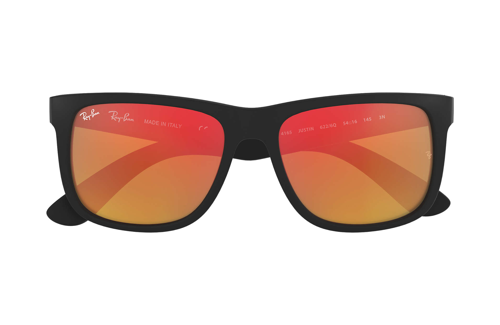 Justin Color Mix Ray Ban RB4165 Noir Nylon Verres Rouge