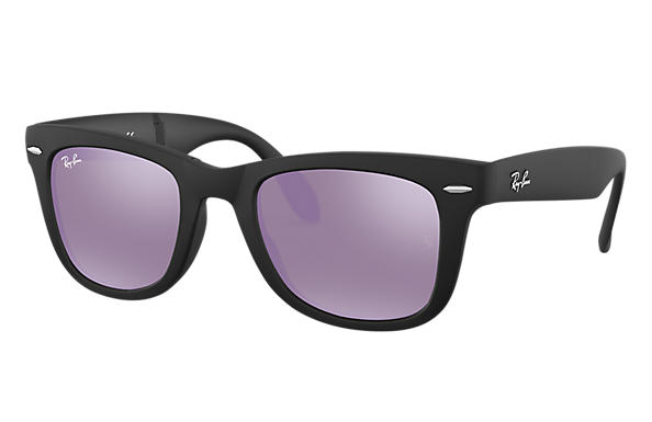 208cb3a2b Ray-Ban Wayfarer Folding Flash Lenses RB4105 Black - Nylon - Lilac ...