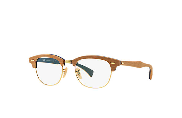 e92137890a19d Óculos de grau Ray-Ban Clubmaster Wood Optics RB5154M Marrom ...