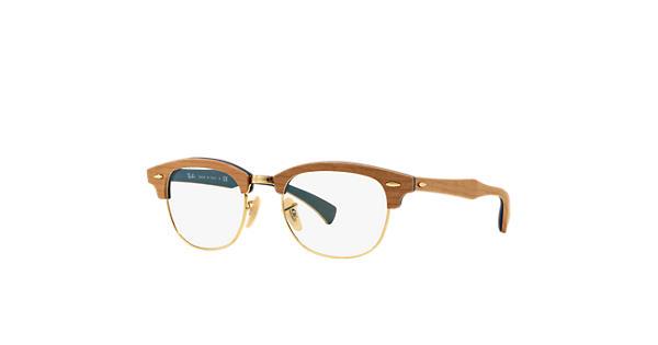 Ray-Ban prescription glasses Clubmaster Wood Optics RB5154M Brown - Wood -  0RX5154M555951  2acc6ec0308