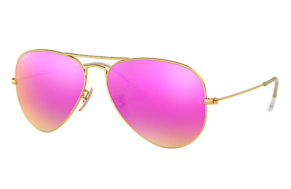 d5910533a535 Ray-Ban Aviator Flash Lenses RB3025 Gold - Metal - Cyclamen ...