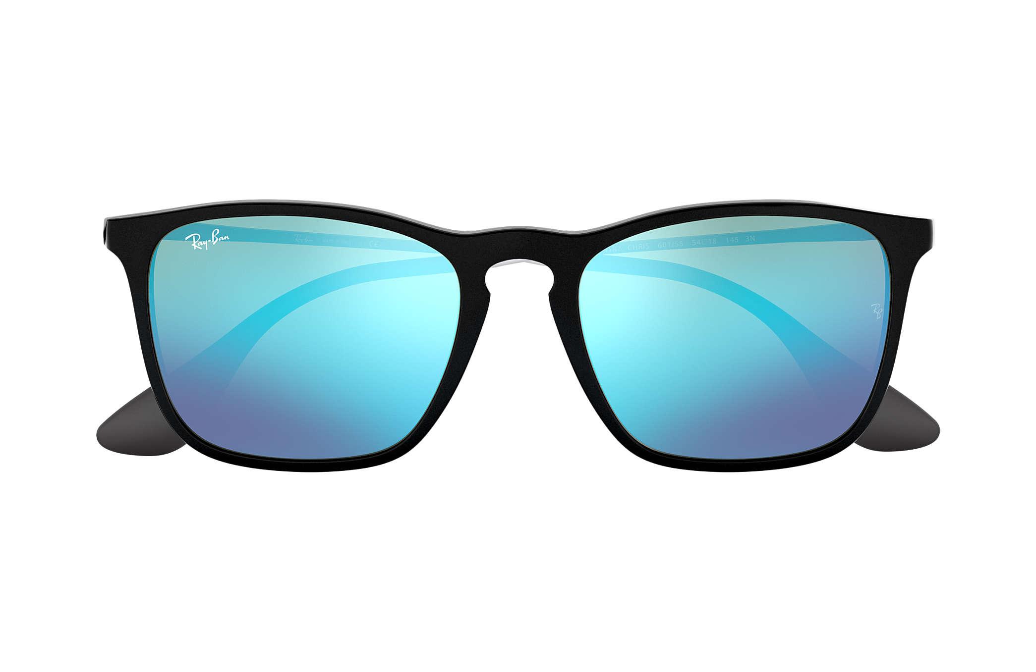 8c90eb8535d Ray-Ban Chris RB4187 Black - Nylon - Blue Lenses - 0RB4187601 5554 ...
