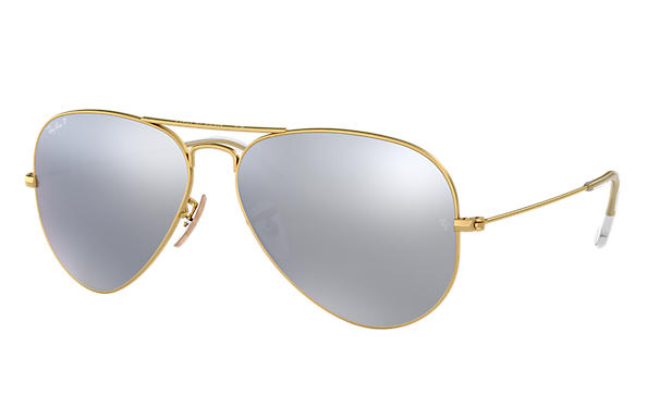 bf73e6930bb7 Ray-Ban Aviator Flash Lenses RB3025 Gold - Metal - Silver Polarized ...