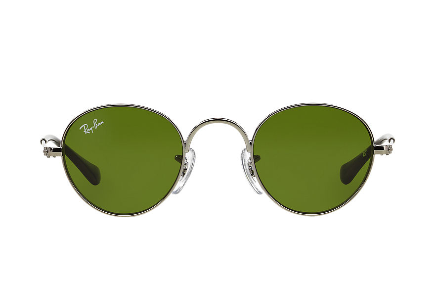 Ray-Ban Sunglasses ROUND JUNIOR Gunmetal with Green Classic lens