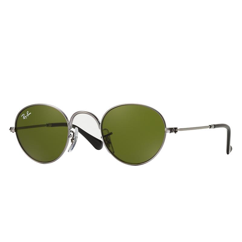 Ray-Ban Junior Round Junior Gunmetal Sunglasses, Green Lenses - Rj9537s 8053672474732
