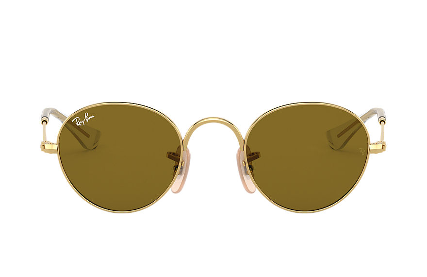 Ray-Ban ROUND JUNIOR Gold with Brown Classic lens