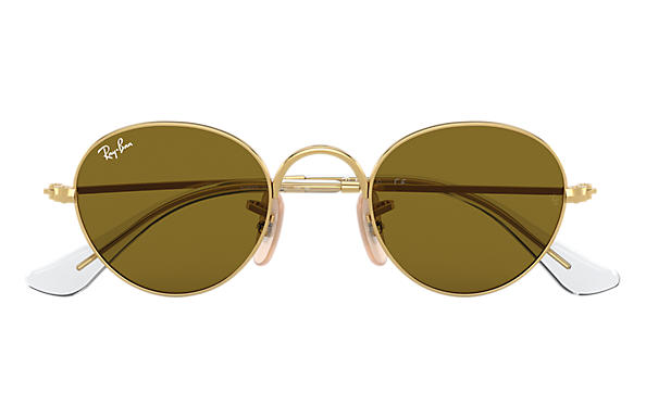 c8ea2404f7 Ray-Ban Round Junior RB9537S Gold - Metal - Brown Lenses ...