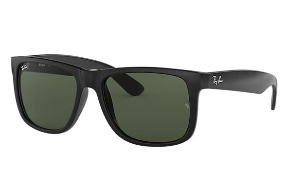 Ray-Ban Sunglasses JUSTIN CLASSIC LOW BRIDGE FIT Black with Green Classic lens