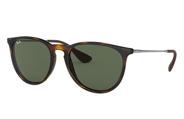 Ray-Ban Sunglasses ERIKA CLASSIC LOW BRIDGE FIT Tortoise with Green Classic lens