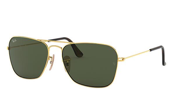 0b622f9855 Ray-Ban Caravan RB3136 Gold - Metal - Green Lenses - 0RB313600155 ...