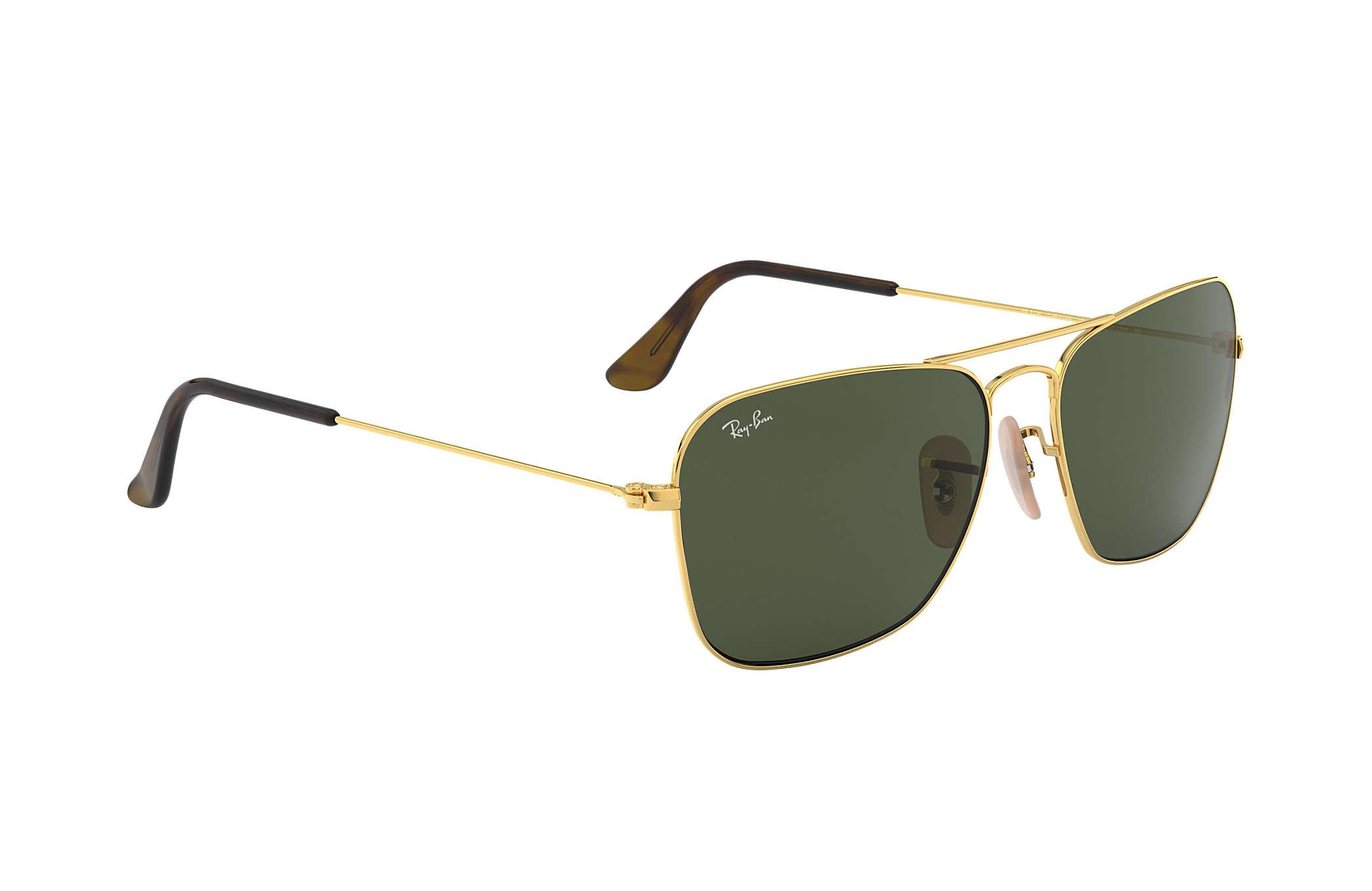 cdfbec56ff Ray-Ban Caravan RB3136 Gold - Metal - Green Lenses - 0RB313618155 ...