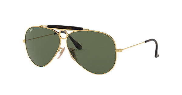 72cf8e6770aa9 Ray-Ban Shooter Havana Collection RB3138 Gold - Metal - Green Lenses -  0RB313818162