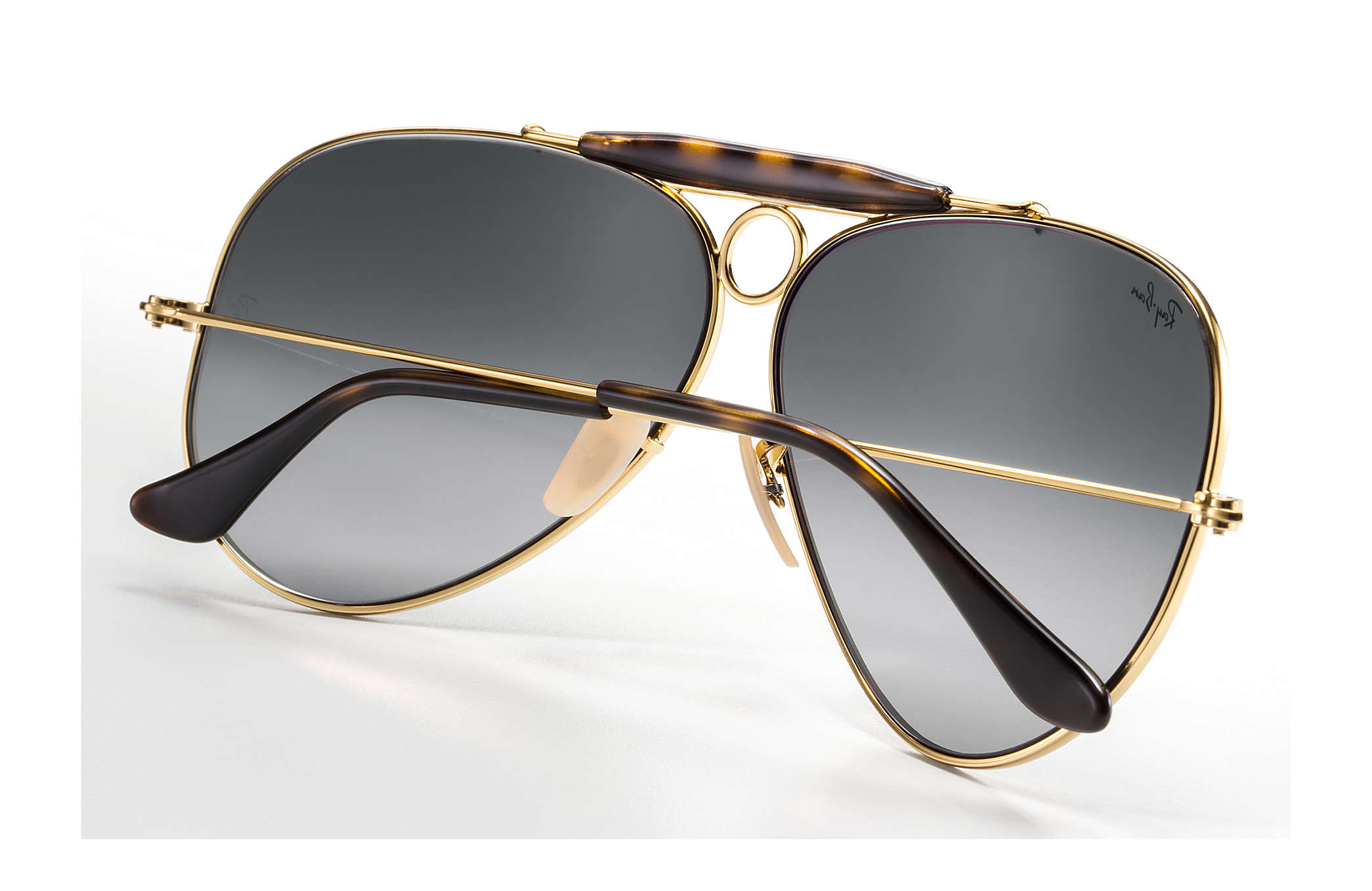 1e74e95cee510 Ray-Ban Shooter Havana Collection RB3138 Gold - Metal - Grey Lenses ...