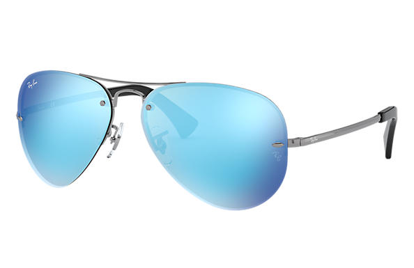 9e93583b91 Ray-Ban RB3449 Gunmetal - Metal - Blue Lenses - 0RB3449004 5559 ...