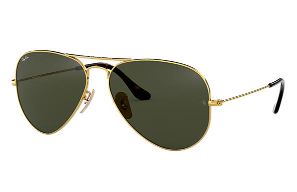 Ray-Ban Sunglasses AVIATOR HAVANA COLLECTION Polished Gold with Green Classic G-15 lens
