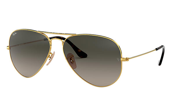 Ray-Ban Sunglasses AVIATOR HAVANA COLLECTION Gold with Grey Gradient lens