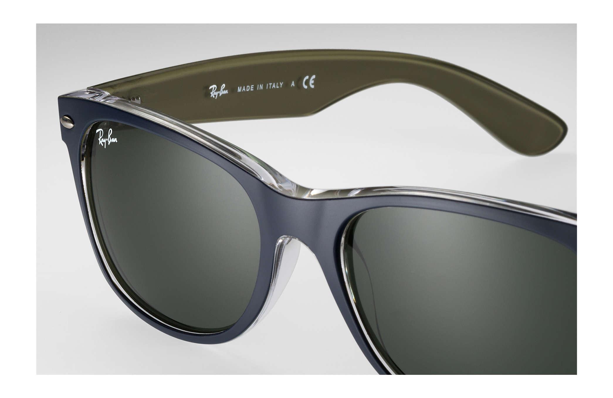 4868683c5a1e5 Ray-Ban New Wayfarer Bicolor RB2132 Blue - Nylon - Green Lenses ...