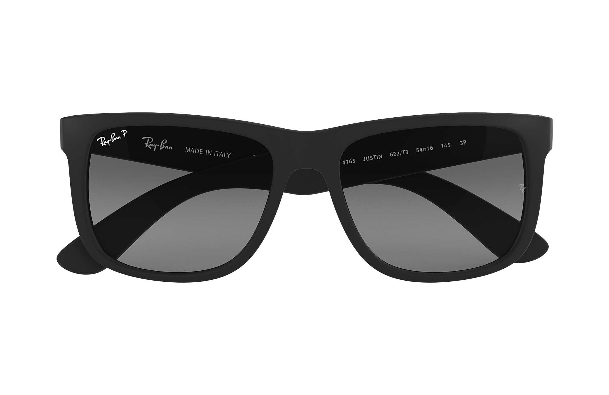 613e4f4fd Ray-Ban Justin Classic RB4165 Black - Nylon - Grey Polarized Lenses ...