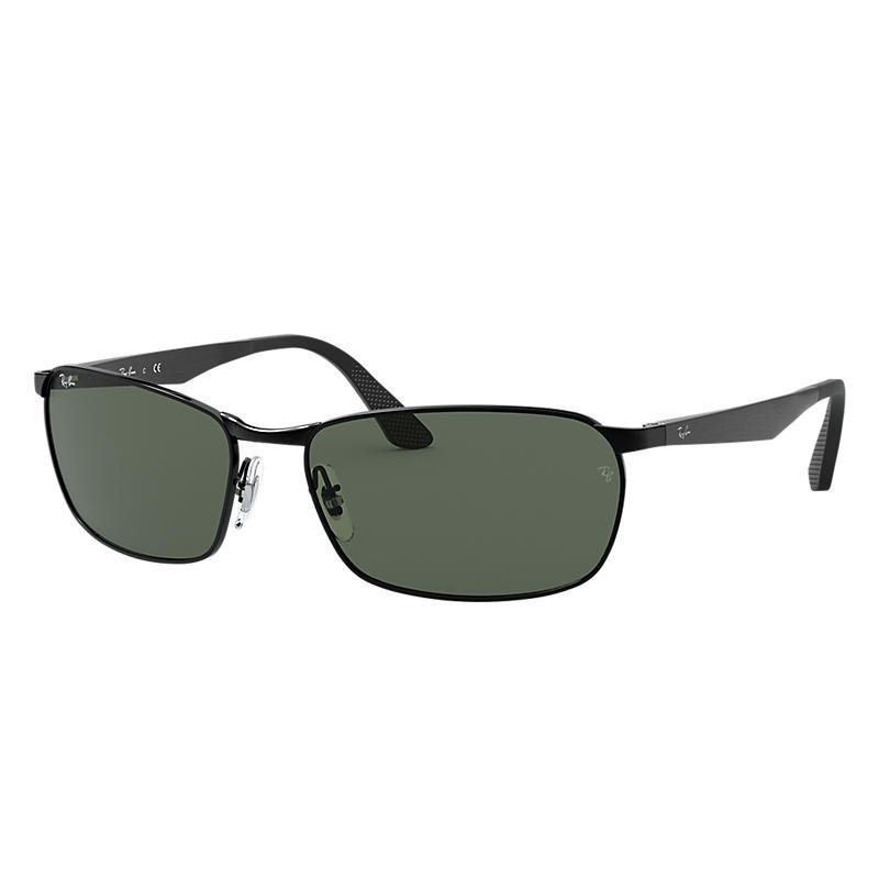Ray-Ban Black Sunglasses, Green Lenses - Rb3534