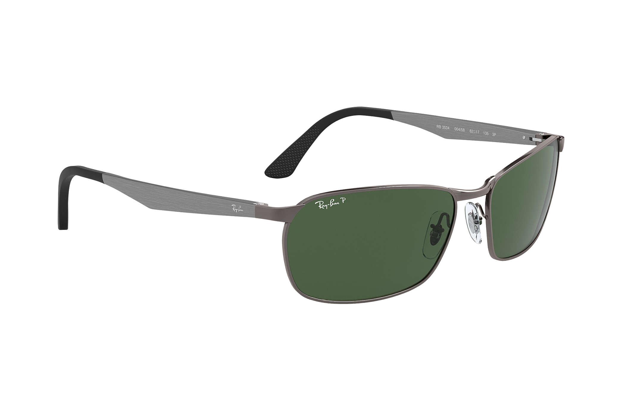 7711d8eb1ba0a Ray-Ban RB3534 Gunmetal - Metal - Green Polarized Lenses ...