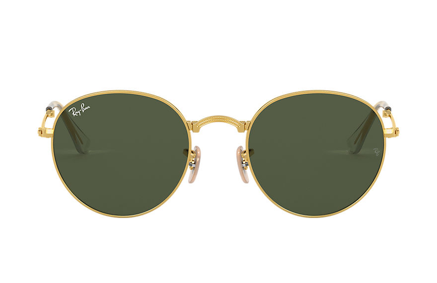 Ray-Ban ROUND METAL FOLDING Gold with Green Classic G-15 lens
